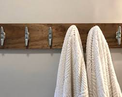 Distressed White Coat Rack Beach House Bathroom boat cleats coat rack Wood distressed 70