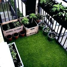 fake grass rug on the balcony outdoor