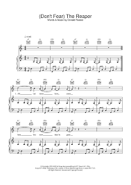 don t fear the reaper sheet music dont fear the reaper sheet music for piano and more