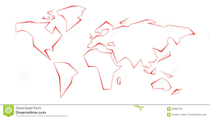 Contour Continents World Map Red Line Template Vector
