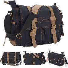 costway men s vintage canvas leather school military shoulder messenger bag black 0