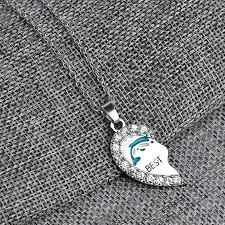 jewellery for friends heart blue dolphin friendship crystal necklace women best jewelry silver chain female necklaces