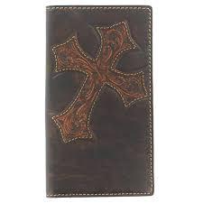 nocona mens tooled cross rodeo checkbook wallet