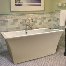Jetted freestanding tubs Woodbridge Rectangle Freestanding Tub With Wide Rim For Faucet Bathroom Floor Storage Cabinet Reward Freestanding Soaking Whirlpool Or Air Hydro Massage