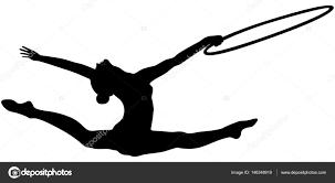 vault gymnastics silhouette. Girl Gymnast Splits Jump Hoop In Rhythmic Gymnastics Black Silhouette \u2014 Vector By Sportpoint Vault S