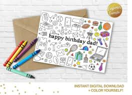 Includes 51 different birthday party shapes and types. Happy Birthday Dad Coloring Card Printable Diy Card For Etsy