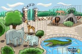 zoo drawing.  Zoo How To Draw A Zoo  Step 11 Throughout Drawing O
