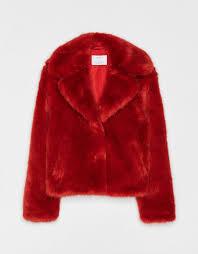 bershka short faux fur coat with lapel collar 5