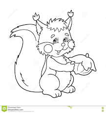 Small Picture Coloring Page Outline Of Cartoon Squirrel With Nut Coloring Book