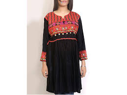 black embroidered women frock style shirt psw 70 plus size clothing in stan