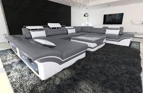 Details Zu Wohnlandschaft Enzo Xxl Designer Couch Grau Weiss Mit Led Beleuchtung Recamiere