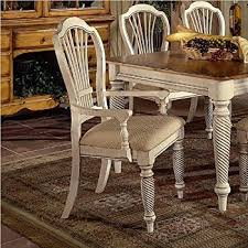 hilale wilshire fabric arm dining chair in antique white set of 2