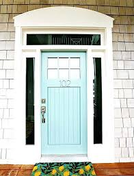 front door with window above a wooden powder blue front door with glass panels on either front door with window above