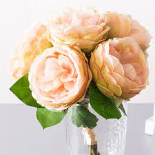 garden roses. 6pcs Peach Garden Roses Silk Flowers Bouquet