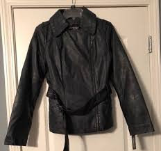 new guess medium moto jacket faux leather jade with belt asymmetrical zip