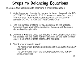 steps to balancing equations the mole and chemical equations ppt