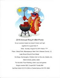 please join us for our annual ring 8 picnic on sunday august 18 2019 last year was rained out see notice