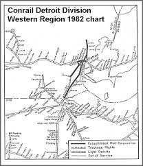 Conrail 1982 Track Chart Detroit Division Western Region Map
