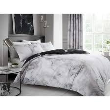 marble effect duvet cover white