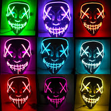 Led Light Up Mask Purge Us 4 58 8 Off Halloween Mask Led Light Up Funny Masks The Purge Election Year Great Festival Cosplay Costume Supplies Party Masks Glow In Dark In