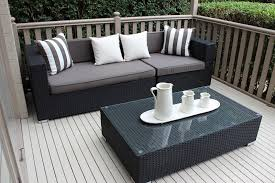 gartemoebe 3 seater wicker outdoor furniture setting black with charcoal cushions black outdoor furniture