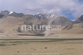 Nature Picture Library Dust tornado touches down on Tibetan Plateau  landscape, Ladakh, North East India - Gertrud & Helmut Denzau