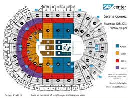 Selena Gomez Seating Chart Selena Gomez Sap Center