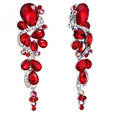 brilove womens bohemian boho crystal wedding bridal multiple teardrop chandelier clip on dangle earrings ruby