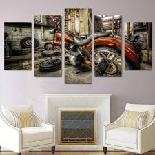 5 piece canvas wall art custom harley motorcycle chopper custom build phat fat tire softail hd print wall pictures for living room canvas painting art  on 5 canvas wall art custom with 5 panel canvas art print custom built harley motorcycle chopper wide