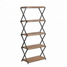 5 tier bookcase portable metal wood display stand storage unit book shelf