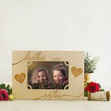 brother and sister personalised photo frame by natural gift