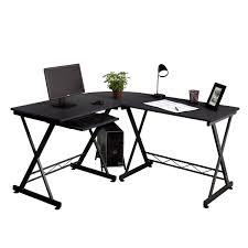L-Shape Office Desk Glass PC Computer Workstation Corner Table Home Study  Table