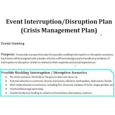 crisis management plan example study of a crisis management plan sample for a wedding event