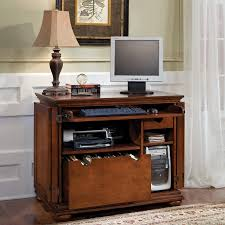 very small old vintage and traditional home office desk with keyboard tray printer and cpu storage plus file cabinet storage as drawer ideas