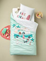 children s duvet cover pillowcase set ice cream theme green light solid with design