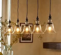 pottery barn pendant lighting rustic glass 5 light