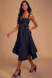 Statement Black Sleeveless Midi Dress