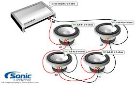 subwoofer wiring diagrams sonic electronix four single 4 ohm subs 1 ohm mono see diagram