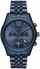 men s michael kors lexington blue chronograph watch mk8480