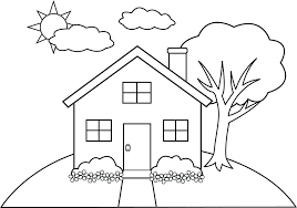 Coloring Page Of A House Tree House Coloring Pages Combined With