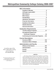 Metropolitan Community College Catalog 2006-2007 MCC Information