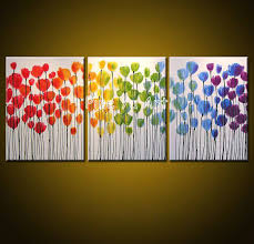 3 piece canvas art sets abstract canvas wall decorative pictures tulip acrylic painting flowers oil canvas
