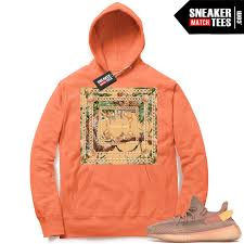 Match Designer Clothing Yeezy 350 Clay Designer Jungle Bright Orange Hoodie