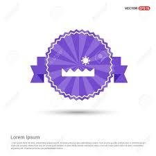 Purple Ribbon Banner Sun And Sea Icon Purple Ribbon Banner