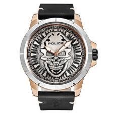 police men s quartz watch silver dial analogue display and police men s quartz watch silver dial analogue display and black leather strap 14385jsrs 57
