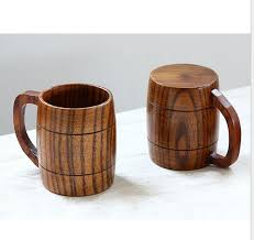 large capacity beer cup with handle wood milk cup wooden coffee tea travel wine beer water