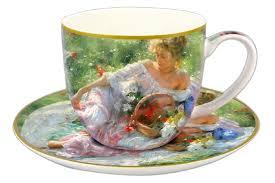 <b>Чашка с блюдцем Девушка</b> с корзиной цветов, 250 мл. Carmani ...