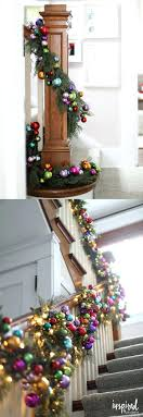 Full Image for Christmas Garland For Banister Best Stairs Decorations Ideas  On Colorful Ornament And Pine ...