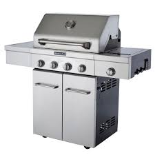 kitchenaid 4 burner propane gas grill in stainless steel with side burner and grill cover