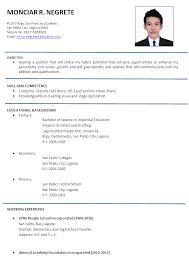 Doc 12751650 Example Resume Sample Resume For Teaching Resume Philippines  Sample Doc